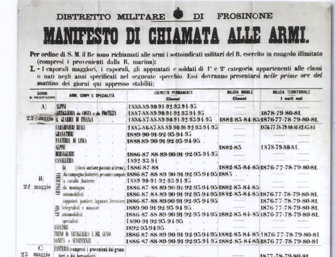 """Note sparse sulla Grande Guerra       """"Paliano ai suoi eroi"""" (secondaparte)"""